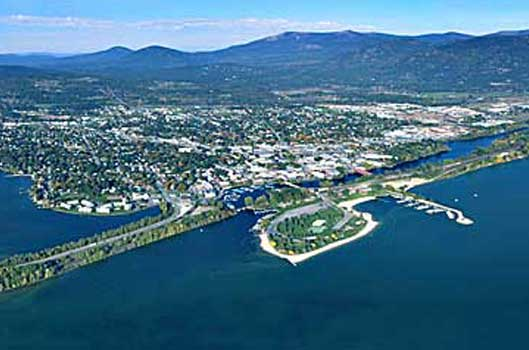 Aerial of the City of Sandpoint